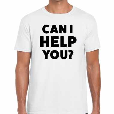 Evenementen tekst t-shirt wit met can i help you bedrukking voor here