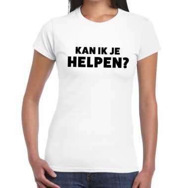 Evenementen tekst t-shirt wit met kan ik je helpen bedrukking voor da