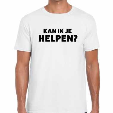 Evenementen tekst t-shirt wit met kan ik je helpen bedrukking voor he