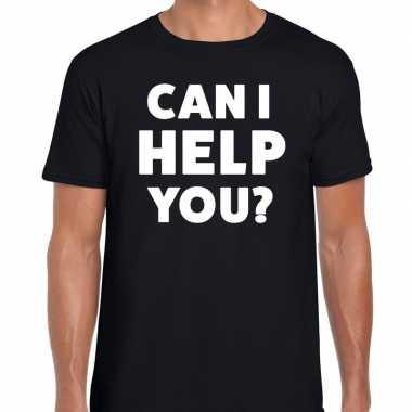 Evenementen tekst t-shirt zwart met can i help you bedrukking voor he