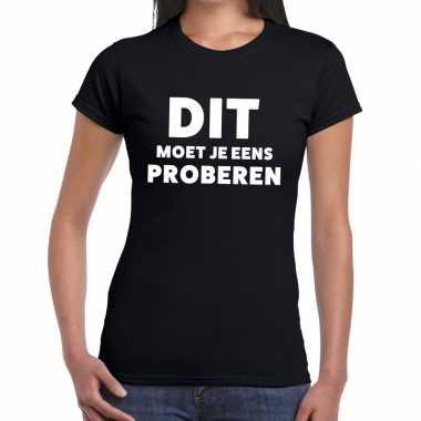 Evenementen tekst t-shirt zwart met dit moet je eens proberen bedrukk