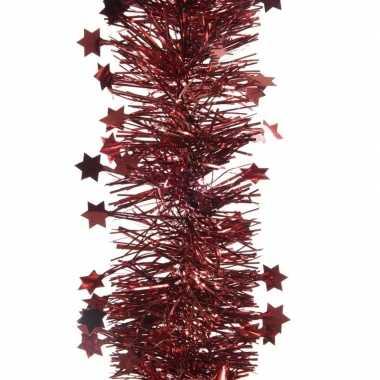 Feest lametta guirlande donkerrood sterren/glinsterend 10 x 270 cm fe