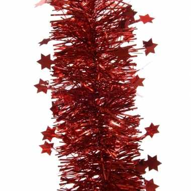 Feest lametta guirlande rood sterren/glinsterend 10 x 270 cm feestver