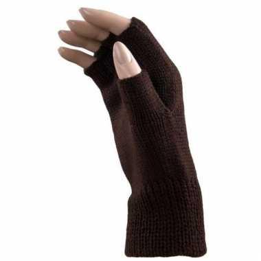 Vergelijk feest vingerloze bruine polsmofjes handschoenen voor volwassenen prijs