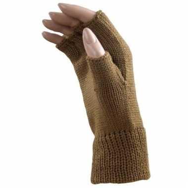 Vergelijk feest vingerloze licht bruine polsmofjes handschoenen voor volwassenen prijs