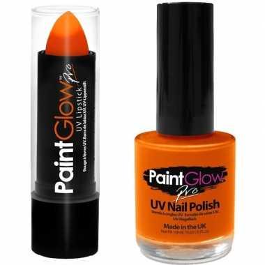 Fel/neon oranje holland lippenstift/lipstick en nagellak uv/glow in t