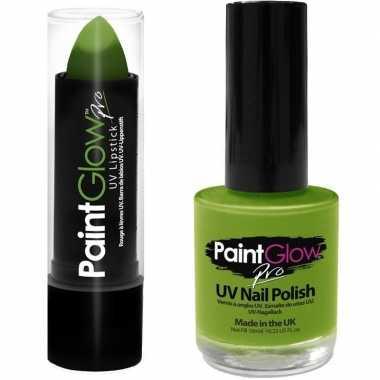 Felgroene/neongroene lippenstift/lipstick en nagellak uv/glow in the