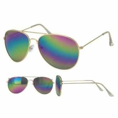 Festival/feest aviator zonnebril goud voor volwassenen prijs
