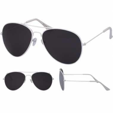 Festival/feest aviator zonnebril wit voor volwassenen prijs