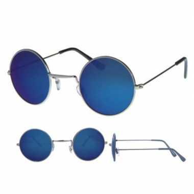 Festival/feest retro zonnebril zilver rond montuur voor volwassenen p