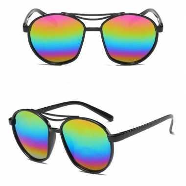 Festival/feest retro zonnebril zwart spiegelglazen voor volwassenen p