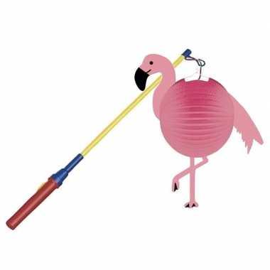 Flamingo ronde lampion 25 cm met lampionstokje prijs