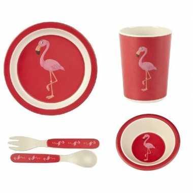 Flamingo thema bamboe serviesset 5-delig voor kinderen prijs