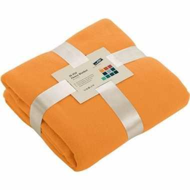 Fleece woondeken/woonplaid oranje 130 x 170 cm prijs