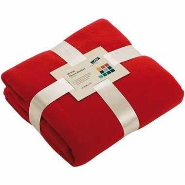 Fleece woondeken/woonplaid rood 130 x 170 cm prijs