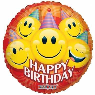 Folie ballon smiley happy birthday 35 cm prijs