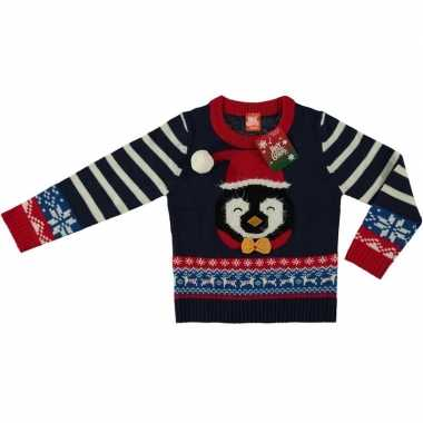 Foute kersttrui pinguin navy voor kinderen prijs