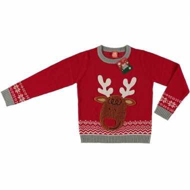 Foute kersttrui rendier rood voor kinderen prijs