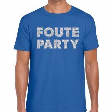 Foute party zilveren letters fun t-shirt blauw voor heren prijs