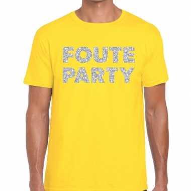 Foute party zilveren letters fun t-shirt geel voor heren prijs