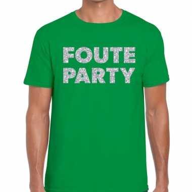Foute party zilveren letters fun t-shirt groen voor heren prijs