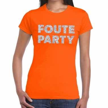Foute party zilveren letters fun t-shirt oranje voor dames prijs