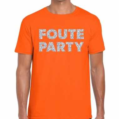 Foute party zilveren letters fun t-shirt oranje voor heren prijs