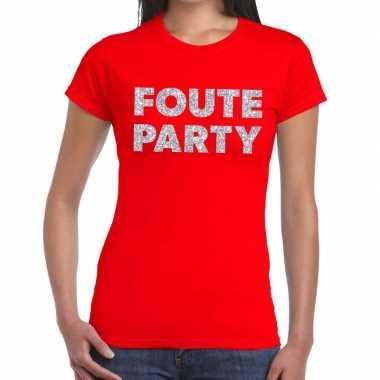 Foute party zilveren letters fun t-shirt rood voor dames prijs