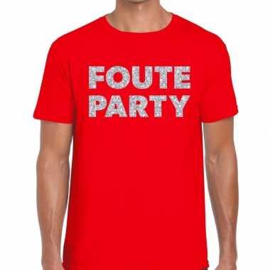 Foute party zilveren letters fun t-shirt rood voor heren prijs