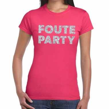 Foute party zilveren letters fun t-shirt roze voor dames prijs