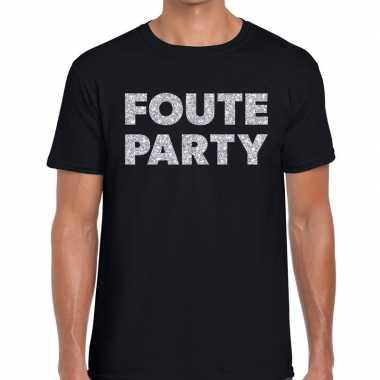 Foute party zilveren letters fun t-shirt zwart voor heren prijs