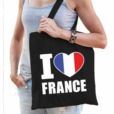 Frankrijk schoudertas i love france zwart katoen prijs