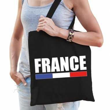 Frankrijk supporter schoudertas france zwart katoen prijs