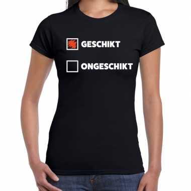Fun t-shirt geschikt - ongeschikt zwart voor dames prijs