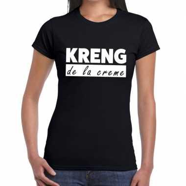 Fun t-shirt kreng de la creme zwart voor dames prijs