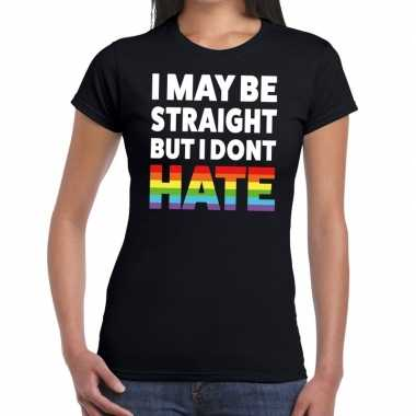 Gay pride i may be straight but i dont hate shirt zwart dames prijs