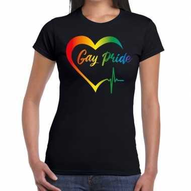 Gay pride rainbow fun shirt zwart dames prijs