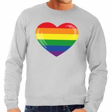 Gay pride regenboog hart sweater grijs heren prijs