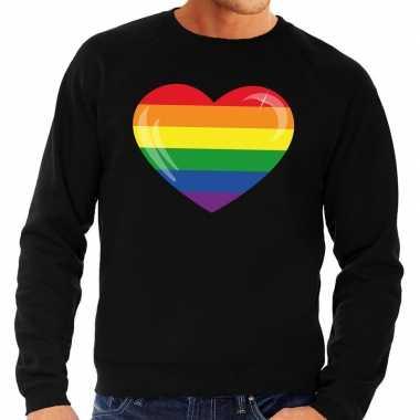 Gay pride regenboog hart sweater zwart heren prijs