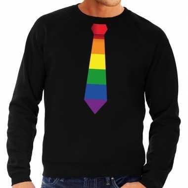 Gay pride regenboog stropdas sweater zwart heren prijs