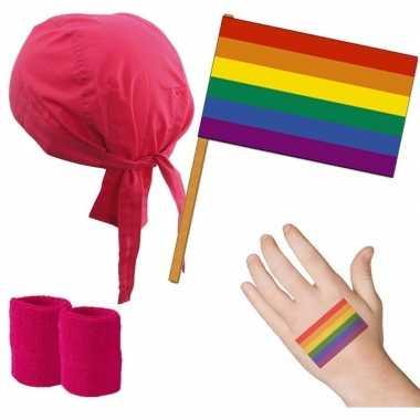 Gay pride verkleed set roze/regenboog voor volwassenen prijs