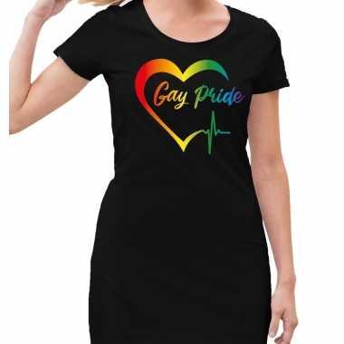 Gaypride kloppend regenboog hart jurkje zwart dames prijs