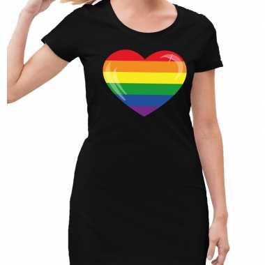 Gaypride regenboog hart jurkje zwart dames prijs