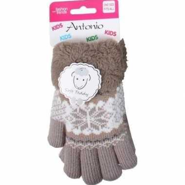 Gebreide handschoenen bruin met sneeuwster en nep bont voor meisjes/k