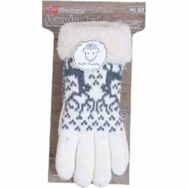 Gebreide handschoenen creme wit met rendier en nep bont voor dames pr