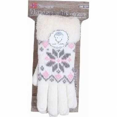 Gebreide handschoenen creme wit met sneeuwster en nep bont voor dames