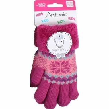 Gebreide handschoenen fuchsia roze met sneeuwster en nep bont voor me