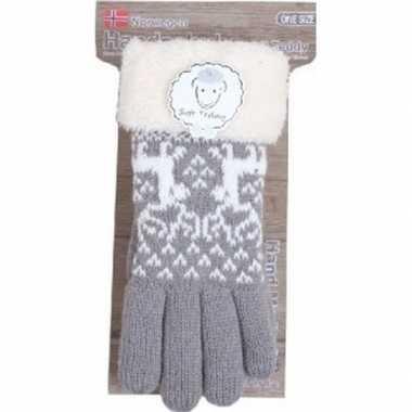 Gebreide handschoenen grijs met rendier en nep bont voor dames prijs