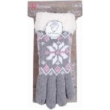 Gebreide handschoenen grijs met sneeuwster en nep bont voor dames pri