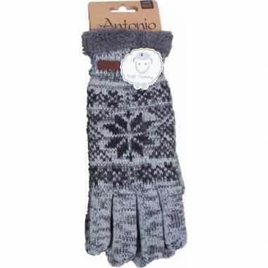 Gebreide handschoenen grijs met sneeuwster voor heren prijs